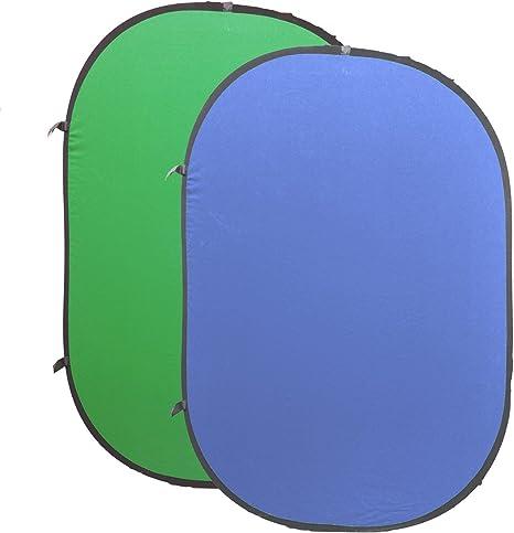 HAKUTATZ/® Hintergrund Bildschirm Baumwolle YouTube Rechteck Doppelseitige Pop Chromakey Faltbare Hintergrund 1.5m x 2m, Blau//Gr/ün