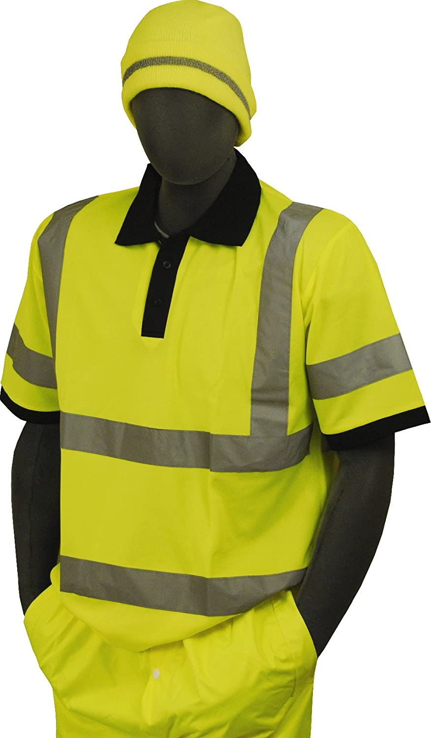 Majestic Glove 75-5311 Birdseye Polyester High Visibility Polo T-Shirt with 2 Reflective Tape 6X-Large Yellow 75-5311-X6