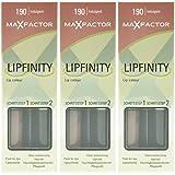 3x Max Factor Lipfinity Lippenstift und Pflege 190 - Indulgent 12h Halt