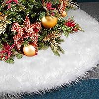 AMAUK Falda de áRbol De Navidad, 30.7inches Adornos De Falda de áRbol De Piel SintéTica Blanca DiseñO de Doble Capa para Fiestas de AñO Feliz