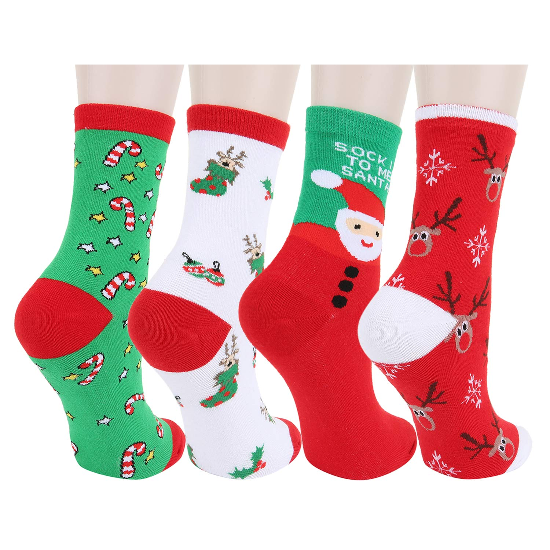 Happypop Women Girl Cute Socks Thick Cartoon Animal Funny Novelty Christmas Cotton Causal Crew Socks