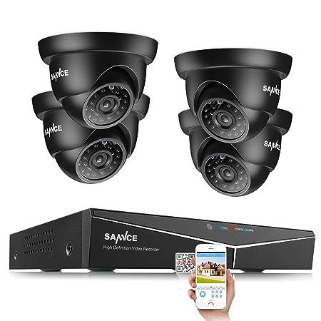SANNCE Kit de Seguridad (Onvif H.264 5-in-1 DVR y 4 Cámaras 1080P ...