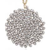 Niumike Hand-Made Crystal Pendant Circle Disc Necklace for Women,Charming Long Necklaces