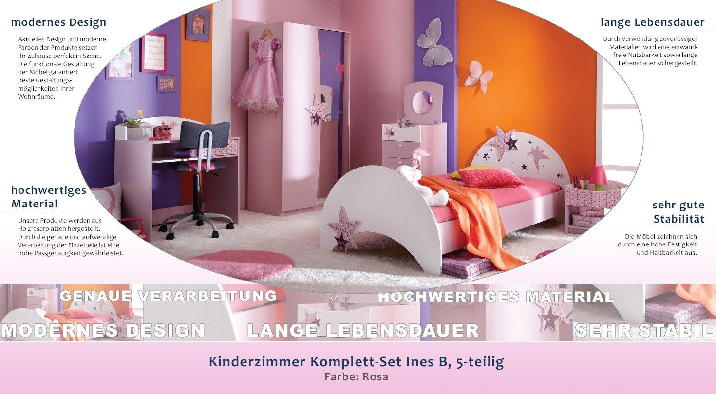 Kinderzimmer Komplett - Set Ines B, 5-teilig, Farbe: Rosa: Amazon.de ...