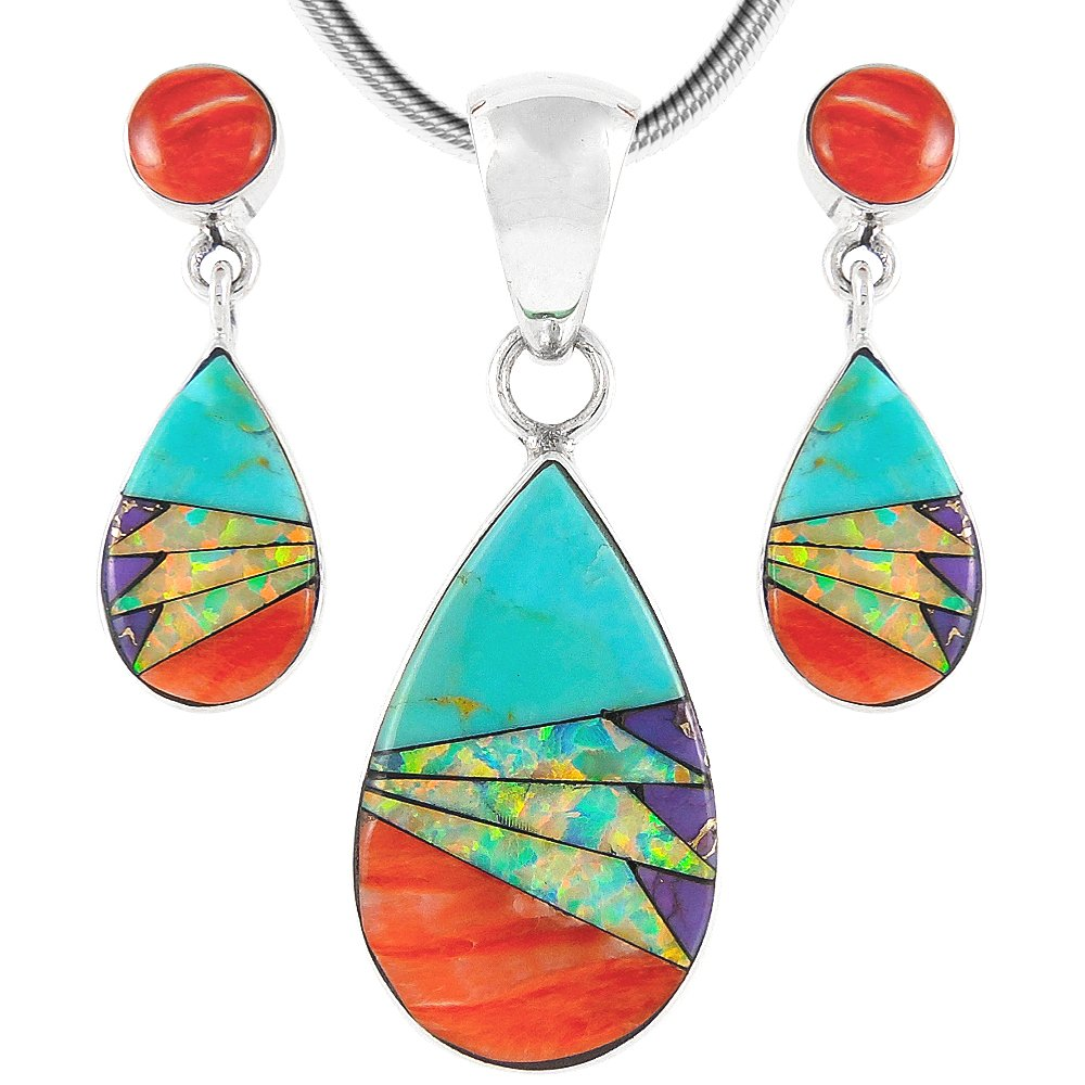 Matching Set Turquoise & Gemstones 925 Sterling Silver (Pendant, Earrings, Necklace 18'') (Multi-Feather)