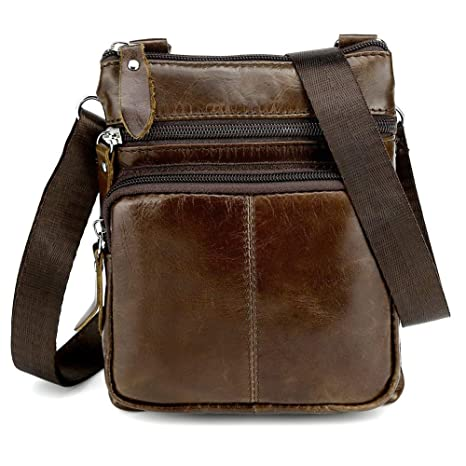 6d3e0efb6aa0cb Koolertron Borsello Uomo Pelle, Mini Borsa a Tracolla Uomo In Pelle Tipo  Messenger Bag Borsa