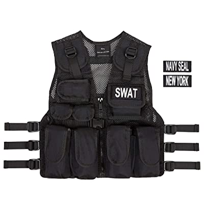 Kids SWAT, Navy Seal, New York Black Combat Vest + Free Swat Dog Tags, Ages 5-12: Toys & Games
