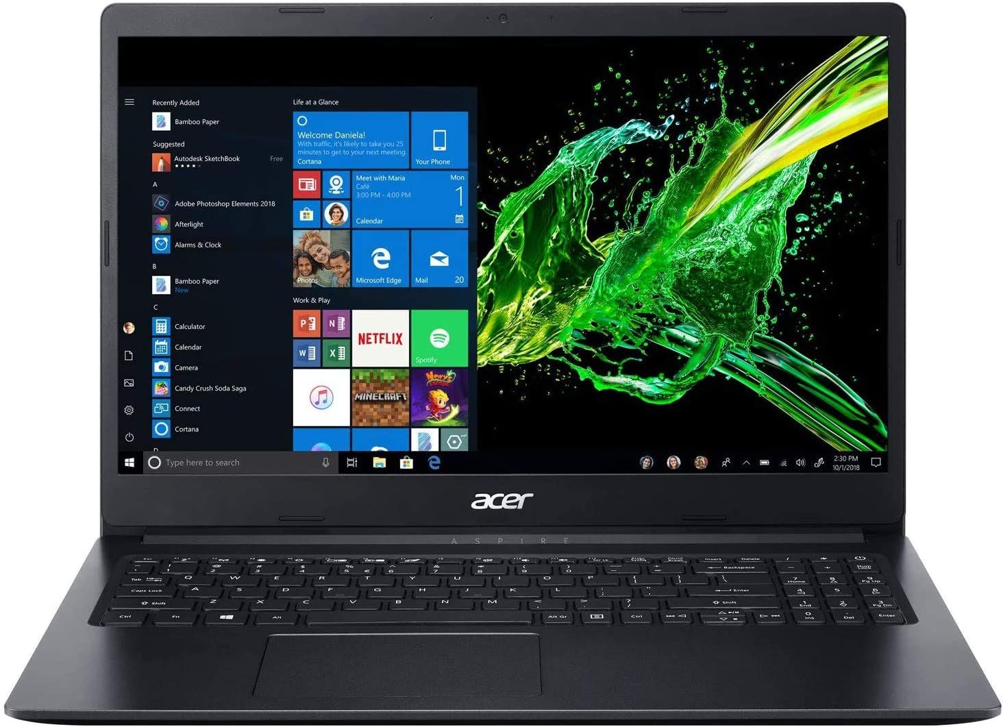 "Acer Aspire 1 15.6"" Full HD Laptop Intel Celeron N4120, 4GB RAM - 64GB eMMC Windows 10"