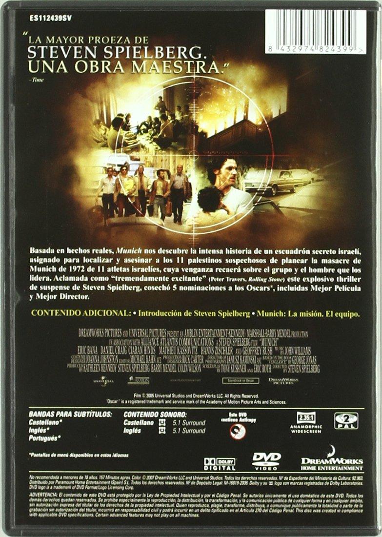 Munich (2005) [Italia] [DVD]: Amazon.es: Eric Bana, Daniel Craig, Geoffrey Rush, Mathieu Kassovitz, Hanns Zischler, Ciaran Hinds, Brian Goodman, Steven Spielberg, Eric Bana, Daniel Craig: Cine y Series TV