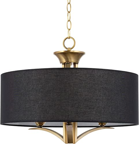 Kira Home Alondra 20″ Modern 3-Light Drum Chandelier Black Fabric Shade
