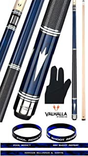 product image for Valhalla VA903 by Viking 2 Piece Pool Cue Stick Euro Stain Leather Wrap, HD Graphics Transfers, 4 Sets of White/Metal Rings High Impact Ferrule, 18-21 oz. Plus Billiard Glove & Bracelet
