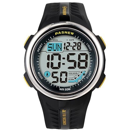 Reloj de Pulsera Multifuncional con Pantalla Digital de 5 ATM, Resistente al Agua, retroiluminación
