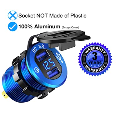 Quick Charge 3.0 Car Charger Blue, Solid 12V/24V 36W Waterproof Aluminum Dual USB Charger Socket Power Outlet Adapter with LED Voltmeter & Wire Fuse DIY Kit for Car Boat Motorcycle & Marine: Electronics