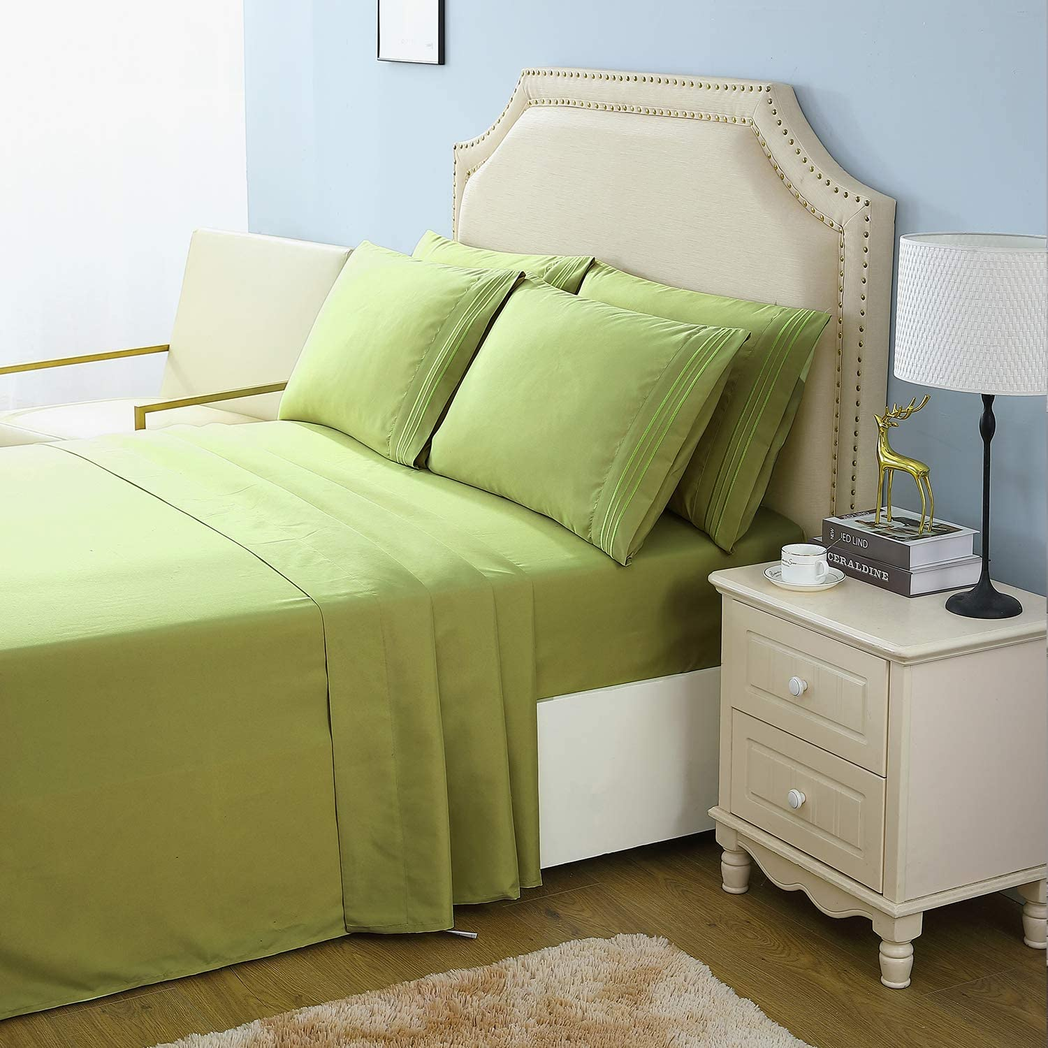 VAELY 1800 Thread Count Bed Sheets Set Cooling Brush Microfiber Soft Luxury Egyptian Sheets 16-Inch Deep Pocket Wrinkle, Fade, Shrink, Stain Resistant and Hypoallergenic - 6 Piece (Sage Green, King)