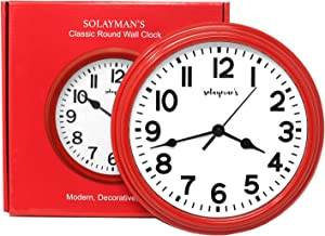 Solayman's Ultimate Silent Wall Clock with Non-Ticking Quartz Movement, Easy to Read Classic Round Wall Clock for Living Room Decor, Bedroom, Kitchen, Office, Classroom- Red Wall Clock