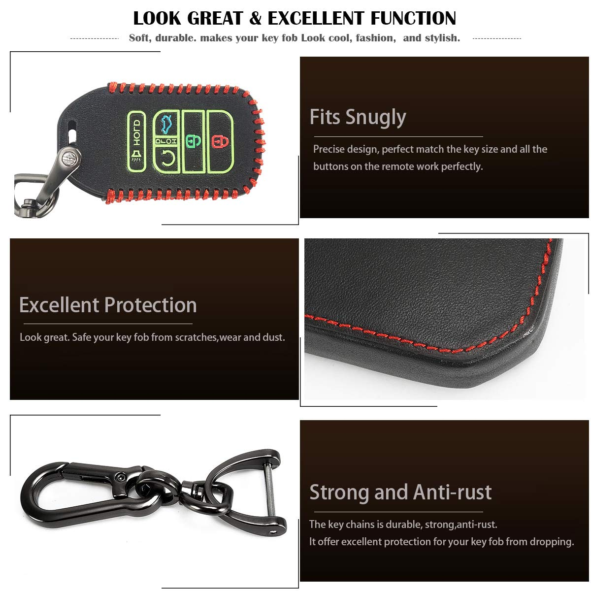 Auovo Key Fob Cover Case Holder for 2019 2018 Honda Odyssey Elite EX EXL 5 Buttons Key Fob Remote Protector Keyless Entry Black 5 Buttons