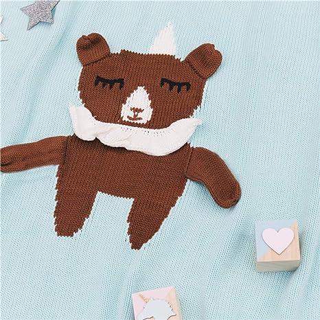 Manta de punto para bebé recién nacido, manta de tejido de punto con diseño de