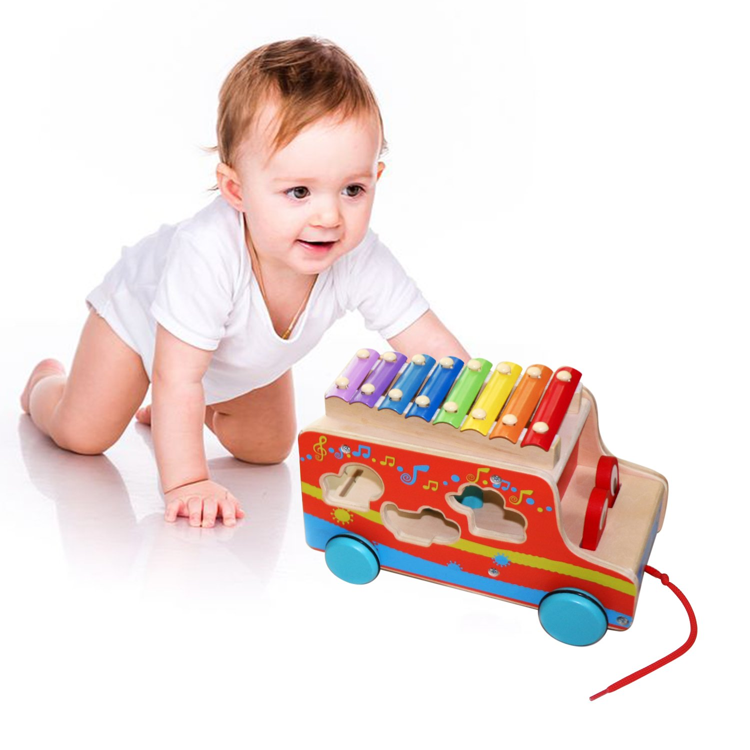 Amazon Miric Pull Toy Xylophone Wooden Shape with Colorful