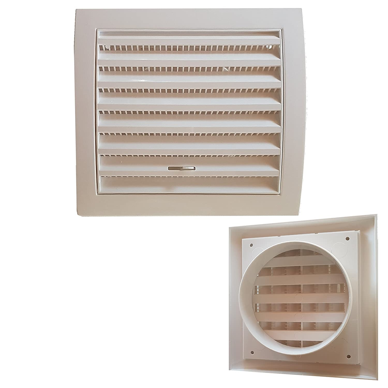 Grill Corrugato Ventilation Air Vent Flow Adjustable Square 15  x 15  with imbocco 100  mm DAKOTA
