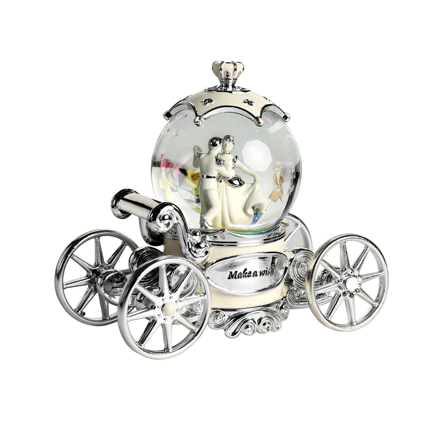 Water Globe Crystal Ball Wind Up Led with Music of Wedding March,Bride and Groom White Music Box