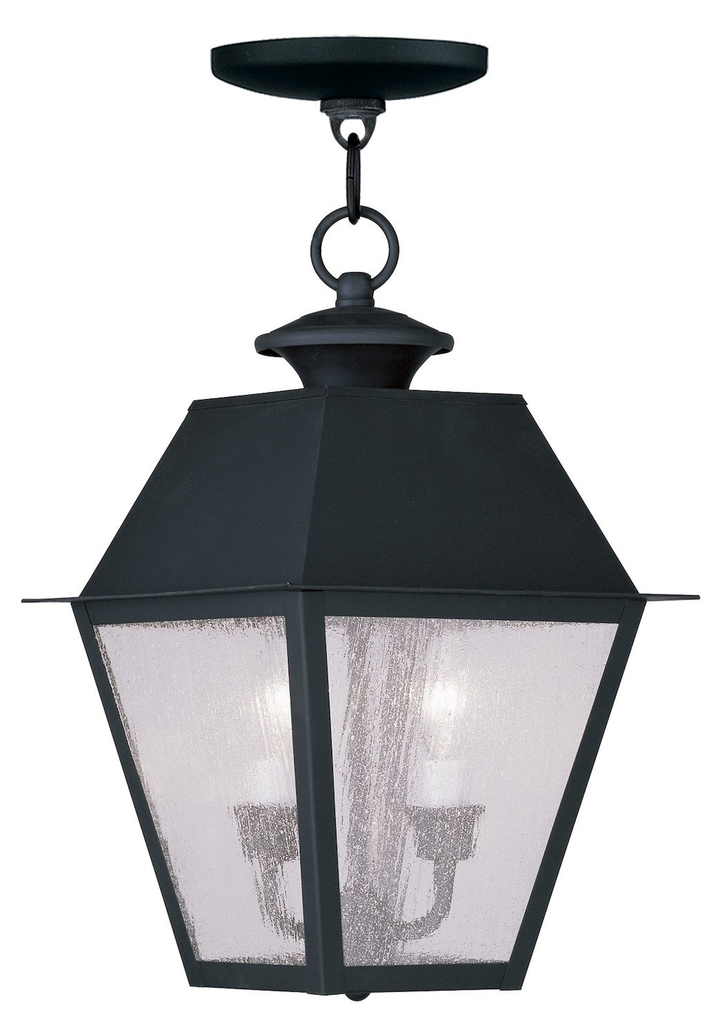 Black Mansfield Outdoor Pendant With 2 Lights