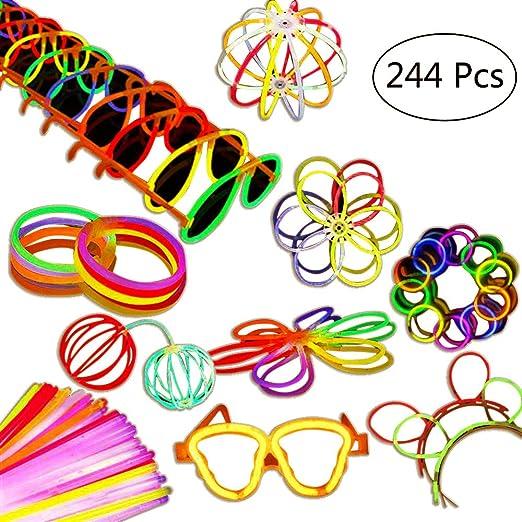 Aookey 100pcs Pulseras Luminosas, 20cm Varitas Luminosas con Accesorios para Fiesta-Pulseras, Collares, Pulseras Triples, Kits para Crear Gafas, Diadema, Pendientes, Flores: Amazon.es: Iluminación