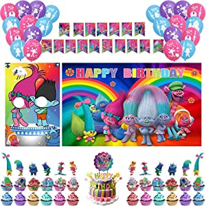 BlissDecor Trolls Birthday Party Supplies-66 Pcs Trolls Party Supplies- Trolls World Tour Party Supplies-Trolls Birthday-Photo Door Props, Backdrop Banner,Cake Toppers Supply,Cupcake Decor,Balloons