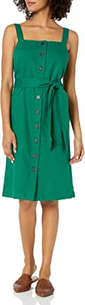Amazon Brand - Goodthreads Women's Washed Linen Blend Apron Dress with Pockets