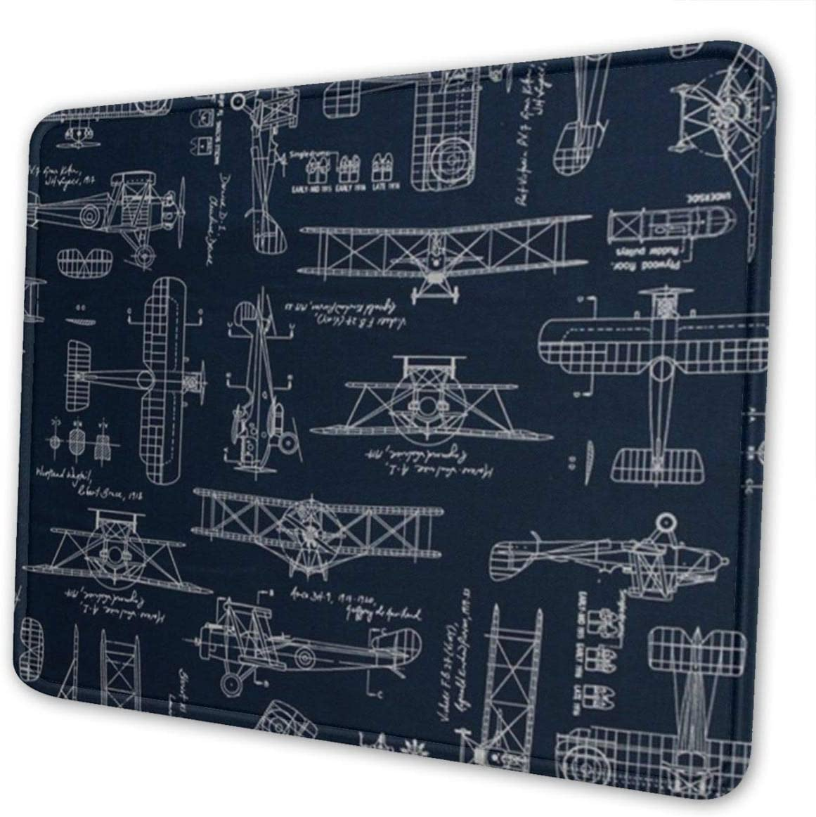 Customized Mouse Pad Aviation Aviators Transportation Blue Non-Slip Rubber Base Stitched Edges for Office Laptop Computer Gaming Mousepad Mat