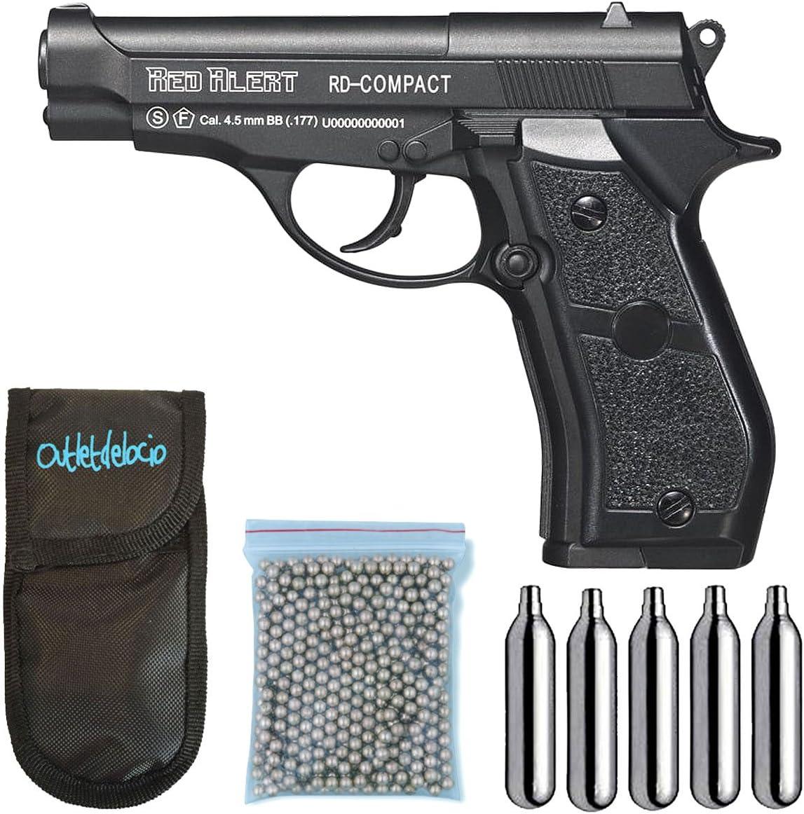 Outletdelocio., Pistola Perdigón Gamo Red Alert RD-Compact. Calibre 4,5mm BBS, Funda Portabombonas, Balines y Bombonas co2, 23054/29318/13275