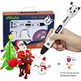3D Pen for Kids and Adults - Dikale 05A (2017 Newest Design) Intelligent 3D Drawing Printing Pen with OLED Display, 2 PLA Filament, 20 Stencils, Best Christmas Gifts - Modern Arts and Crafts Tool