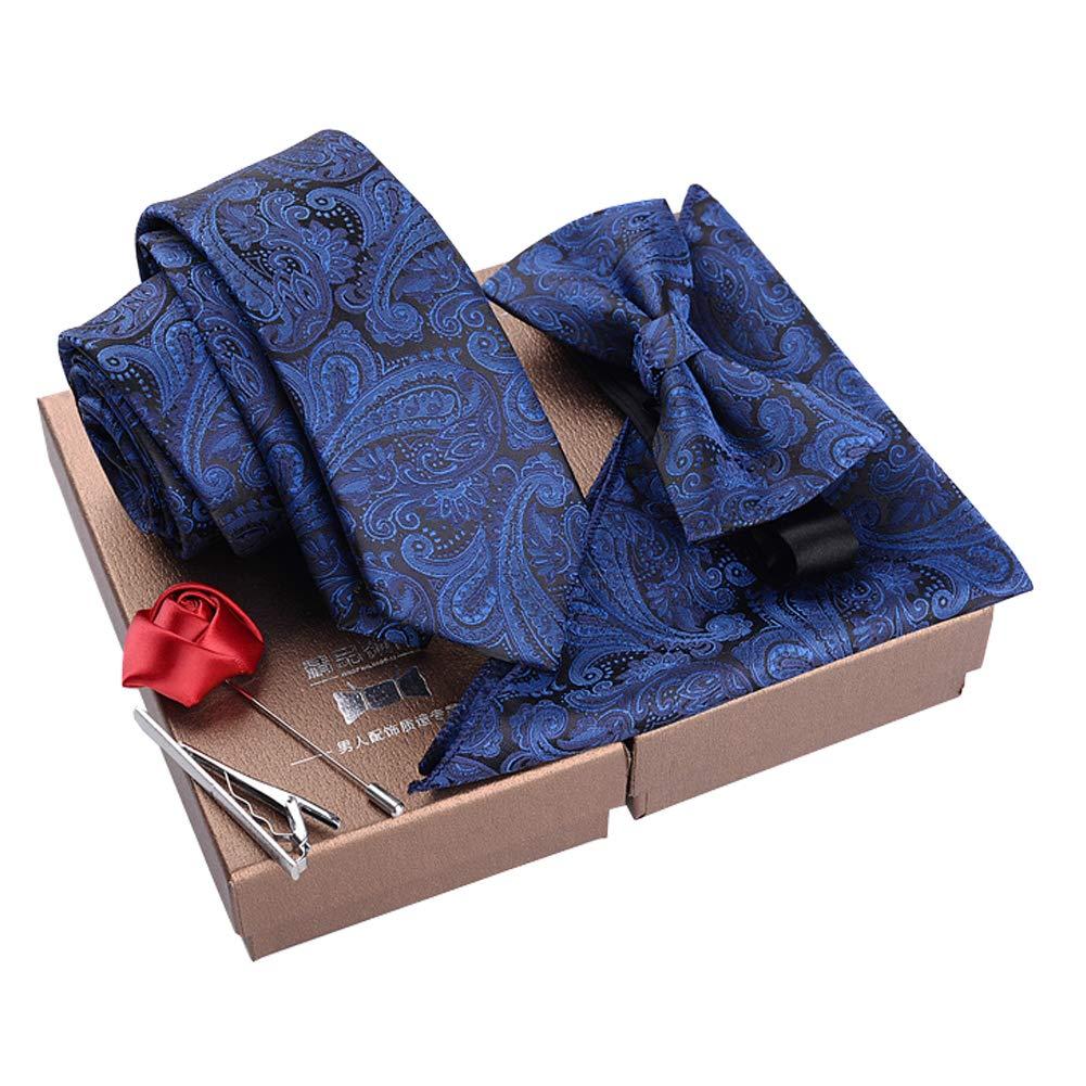 Lanburch Fashionable Premium Formal/Informal Ties Set, Necktie/Bow Tie/Pocket Square for Mens/Boys, Paisley Navy Blue