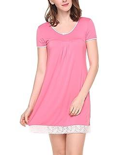 4df7d09e19 Hotouch Sleepwear Womens Cotton Nightgown Short Sleeve Sleep Nightdress  Scoopneck Sleep Tee Nightshirt S-XXL