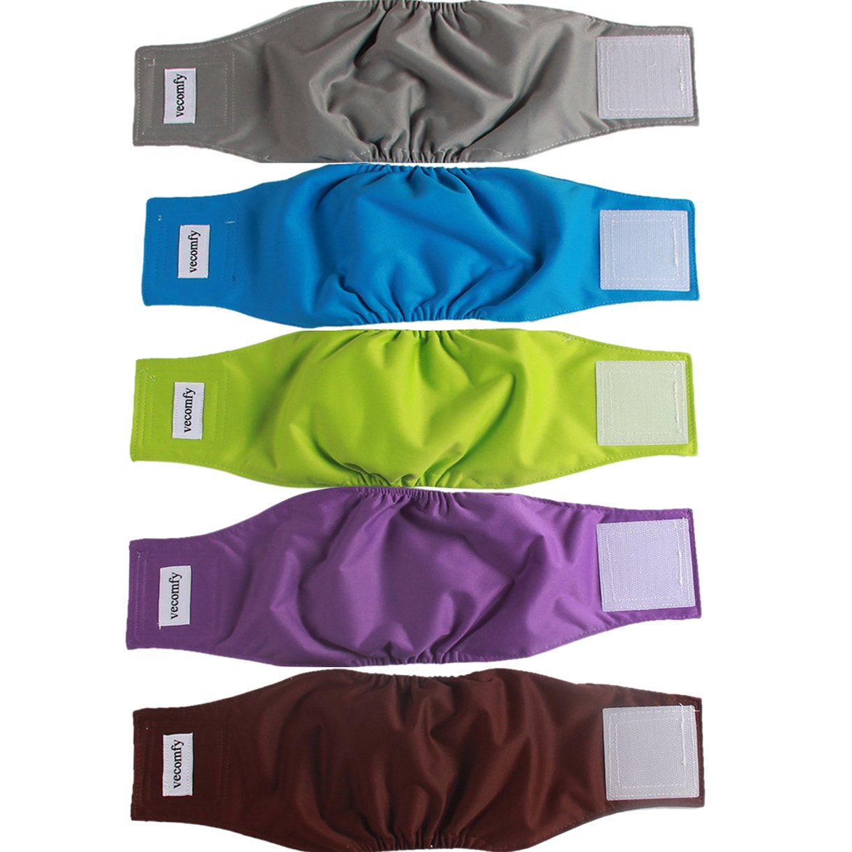 vecomfy Belly Bands for Male Dogs 5 Pack,Premium Washable Reusable Large Dog Belly Wrap Leakproof Doggie Diapers,XL by vecomfy