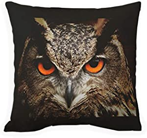 SPXUBZ Eye Beautiful Owl with Orange Eyes Cotton Polyesterwith Hidden Zipper Decorative Home Decor Square Indoor/Outdoor Throw Pillowcase Size: 16x16 Inch(Two Sides)
