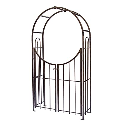 Exceptionnel Panacea Products Arched Top Garden Arbor With Gate, Brushed Bronze