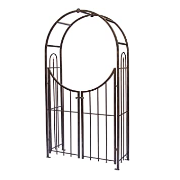 Amazon.com : Panacea Products Arched Top Garden Arbor With Gate, Brushed  Bronze : Garden U0026 Outdoor