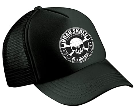 fa60a655bdc37 Road Skull Trucker Cap Hot Rod V8 Baseball Cap Rockabilly Biker Oldschool  US Car Black  Amazon.co.uk  Clothing