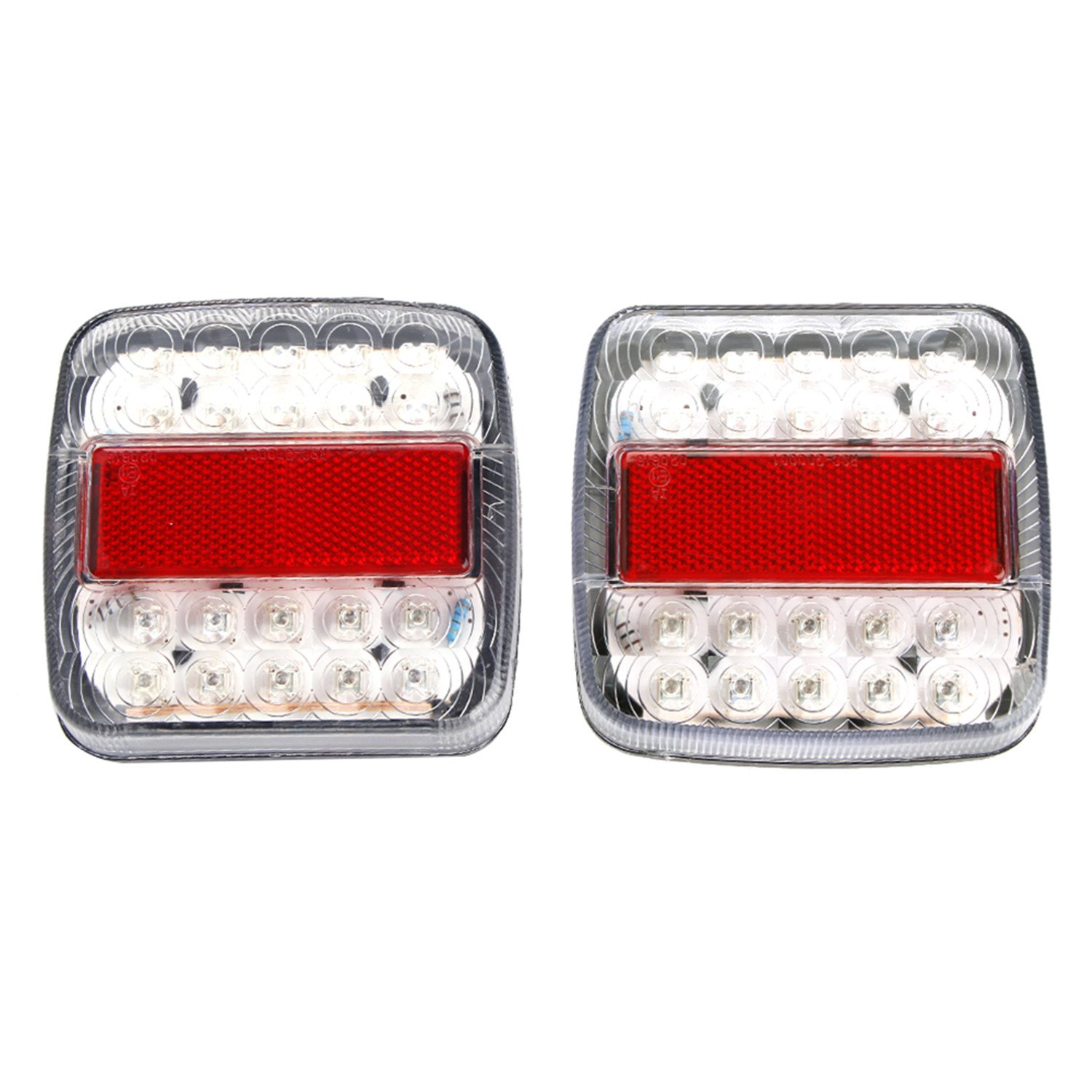 2 X 12v Trailer Tail Lights Led Rear Brake Caravan Wiring Additional Indicator Stop Lamp Universal Waterproof White For Truck Lorry Van Tractor