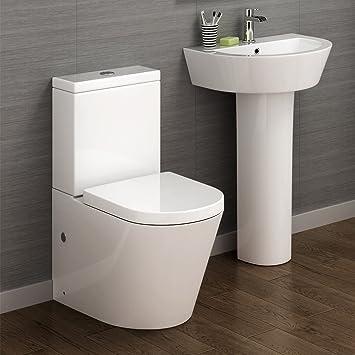 Modern White Toilet Cistern Set   Pedestal Basin Sink Bathroom Suite CS632A. Modern White Toilet Cistern Set   Pedestal Basin Sink Bathroom