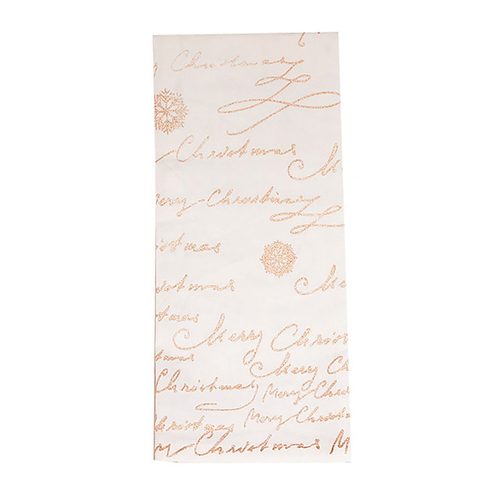 Merry Christmas Script Snowflake Gold Cream Linen Cotton Hand Towel