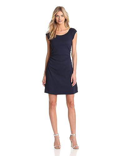 Three Dots Women's Heritage Rib Dress W/ Ruched Waist