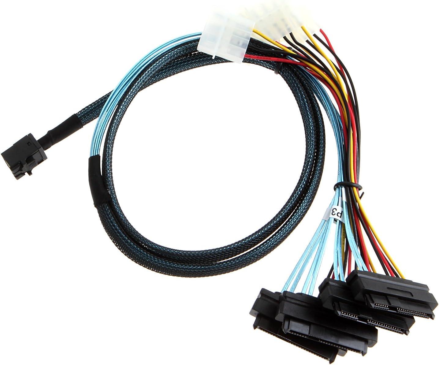 SFF-8482 Connectors With SATA Power Cable 100cm WI1 Mini SAS 36P SFF-8087 to 4