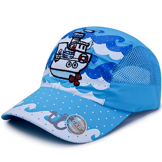 502376ffd8b LLmoway Kids Packable Sun Protection Baseball Cap Quick Drying Mesh Tennis  Hats Adjustable Cap Aqua