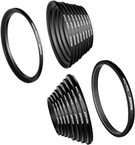 Neewer 18 Pieces Metal Camera Lens Filter Ring Adapter Kit - 9 Pieces Step Up Ring Setand 9 Pieces Step Down Ring Set for Canon Nikon Sony Olympus DSLR Camera, Black