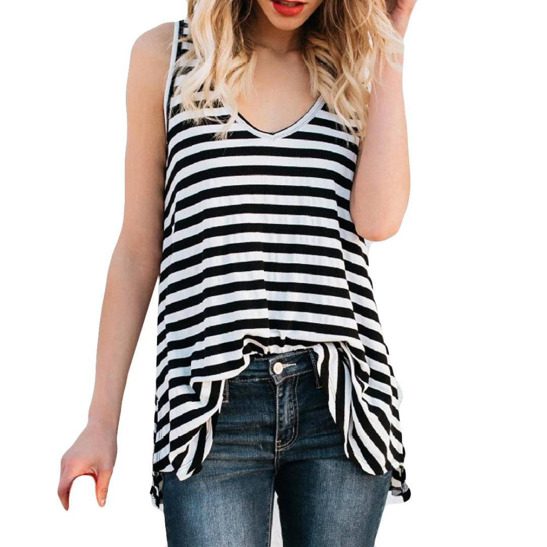 Sikye Womens Sexy Vest Fashion Leisure Stripe Printing Summer Sleeveless Cotton T-shirt Top (Black, XL)