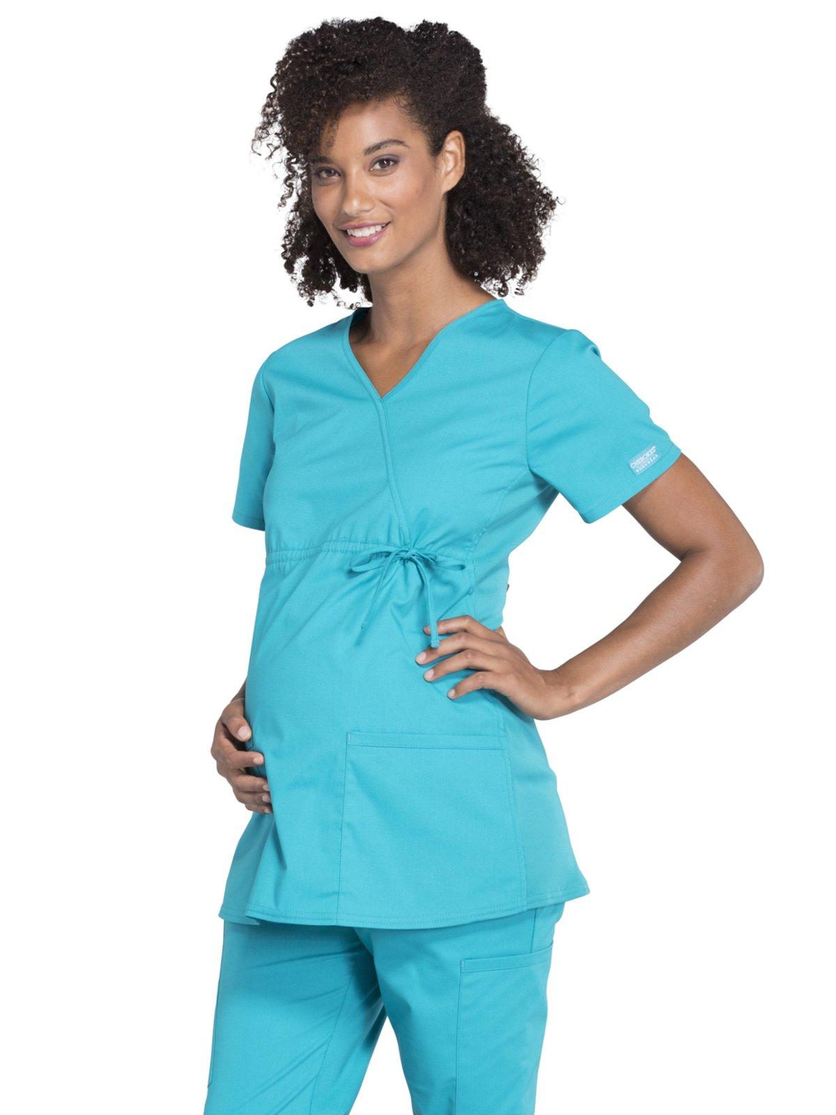 Cherokee Professionals Workwear Women's Maternity Mock Wrap Soft Knit Panel Solid Scrub Top Medium Teal Blue