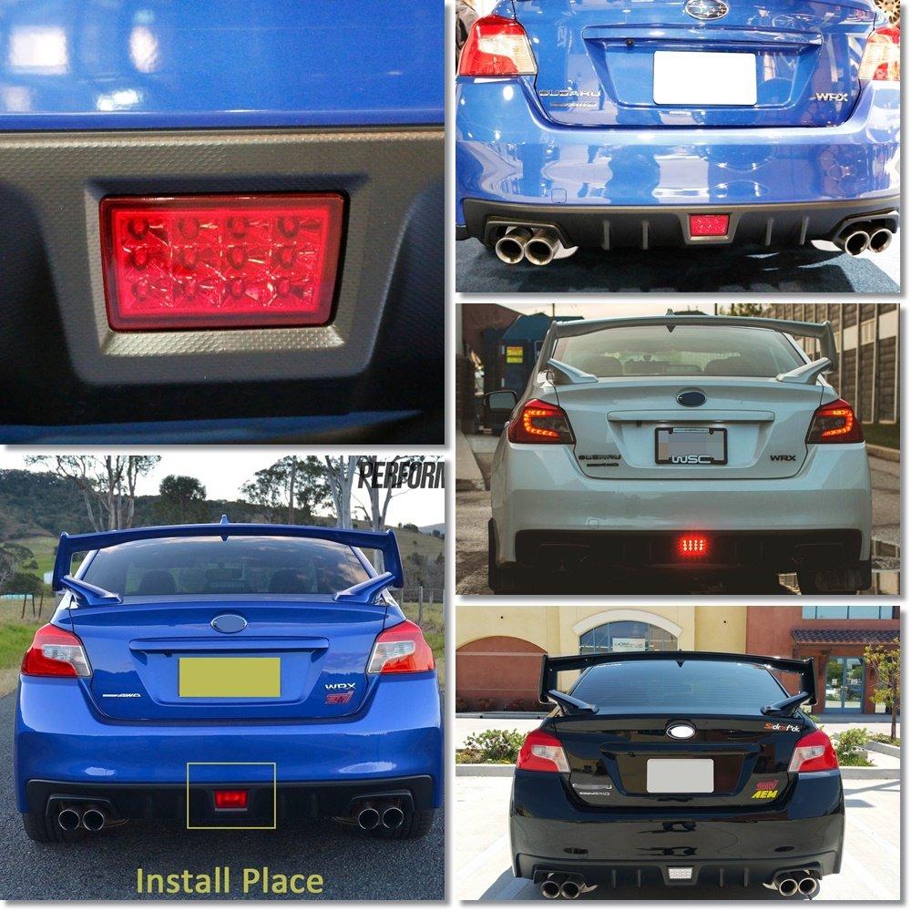 Red lens NSLUMO Red Lens Rear Fog Lights Brake Stop Tail Lamp Assembly For 2011-2016 Subaru WRX STi XV Impereza Car Lighting Source F1 Style Led Brake Light