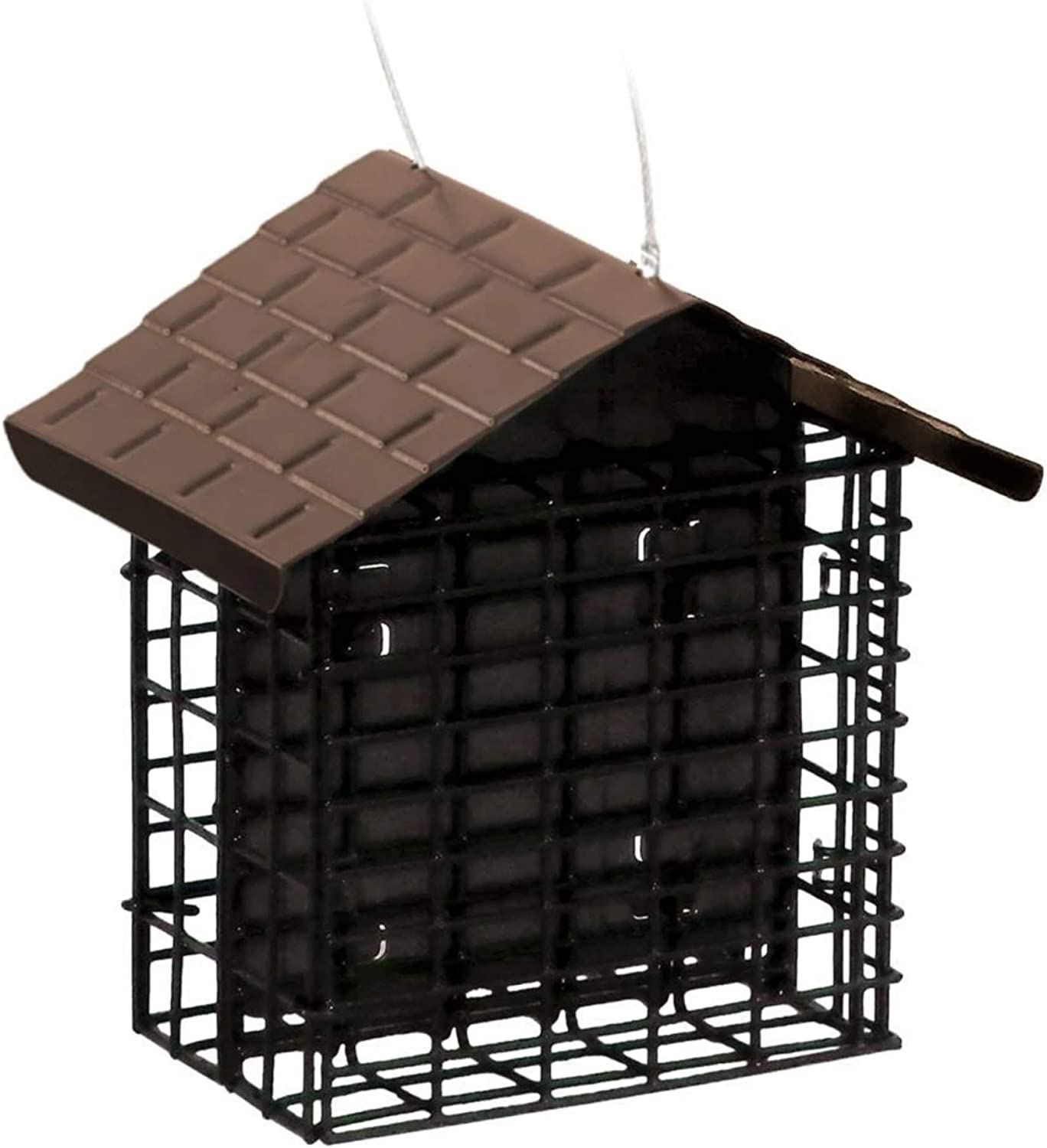 More Birds 38070 Stokes Select Double Feeder with Metal Roof, Two Suet Capaci, Cakes, Black
