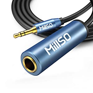 MillSO 1/4 to 3.5mm Headphone Adapter, 6.6ft TRS 6.35mm Female to 3.5mm Male 1/8 to 1/4 Stereo Audio Adapter for Amplifiers, Guitar, Piano, Home Theater Devices, Phone, Laptop, Headphones - 6.6ft/2M